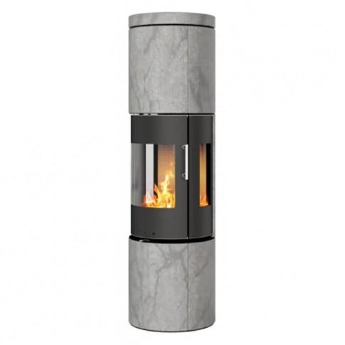 Печь-камин RAIS Juno Soapstone 165 со стальной дверцей с боковыми стеклами