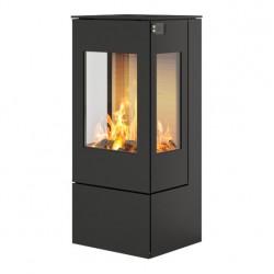 Печь-камин RAIS Nexo 100 черная со стальной дверцей и боковыми стеклами