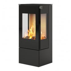 Печь-камин RAIS Nexo 100 черная со стеклянной дверцей и боковыми стеклами