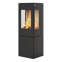 Печь-камин RAIS Nexo 120 черная со стальной дверцей и боковыми стеклами