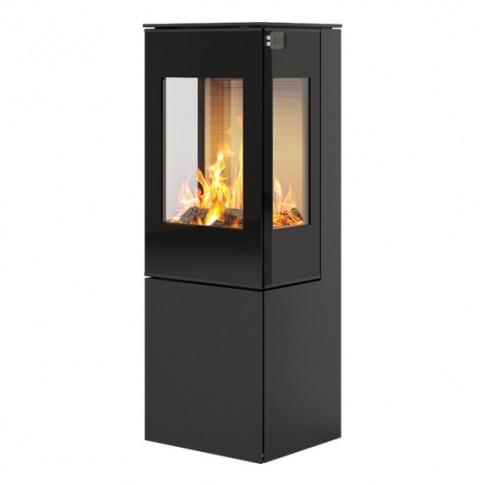 Печь-камин RAIS Nexo 120 черная со стеклянной дверцей и боковыми стеклами