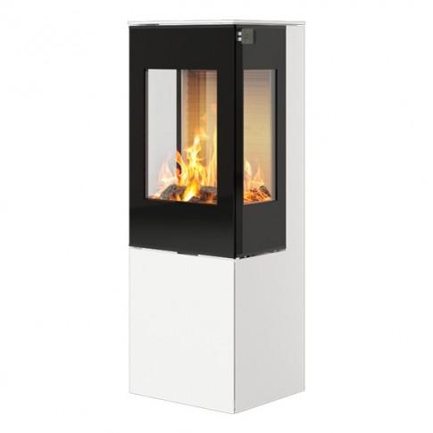 Печь-камин RAIS Nexo 120 в цвете со стеклянной дверцей и боковыми стеклами