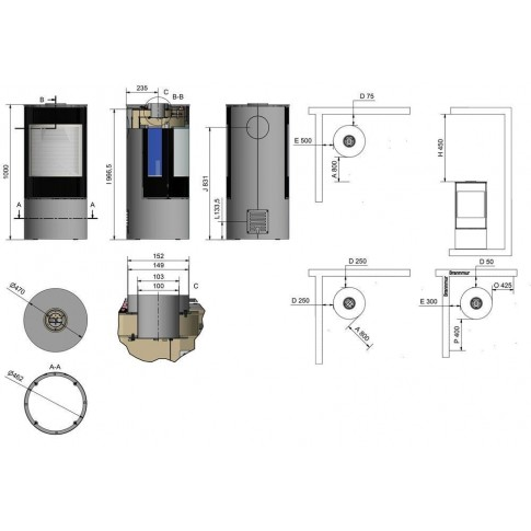Печь-камин RAIS VIVA L 100 Gas со стеклянной дверцей и боковыми стеклами