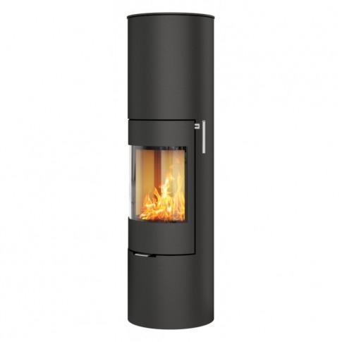 Печь-камин RAIS Viva L 160 черная со стальной дверцей
