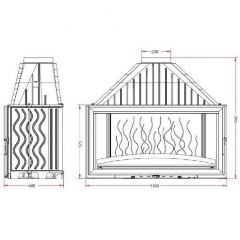 Топка Invicta Grand Vision 1100 lifting door (Гранд Визьон 1100 контргруз)