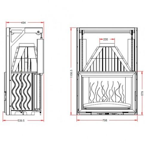 Топка Invicta Grand Vision 800 lifting door (Гранд Визьон 800 контргруз)