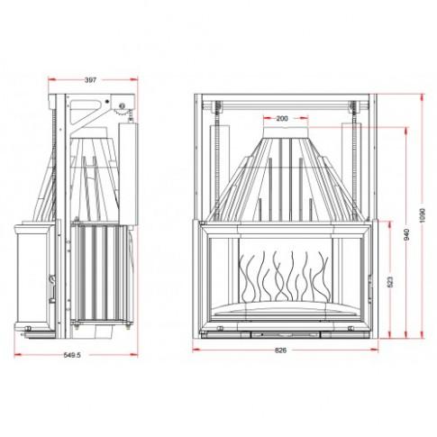 Топка Invicta Prismatic 850 lifting door (Призматик 850 контргруз)
