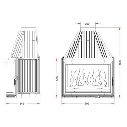 Топка Invicta Призматическая форма стекла, высокий дымосборник.