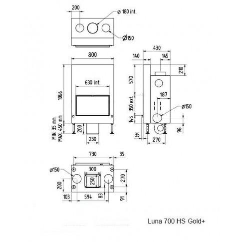 Топка M-design Luna 700 НS Gold+